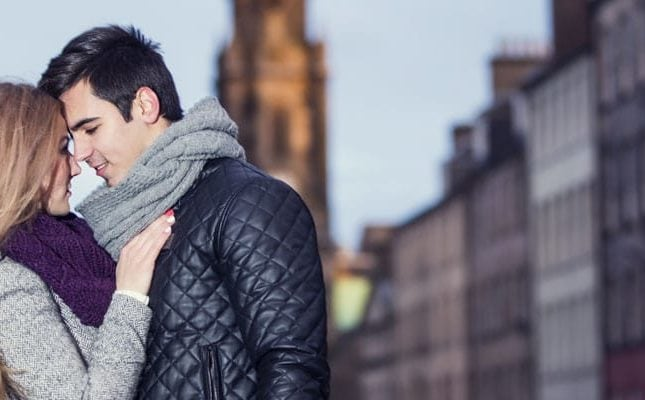 Romantic couple on Royal Mile