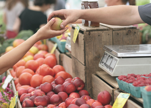 Image of apples being bought at a farmers market